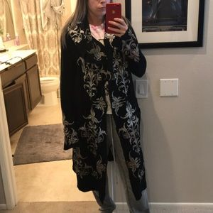 Johnny was black embroidered hooded duster coat S